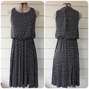 LOFT Navy Print Dress SMALL